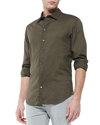 Textured-Check Sport Shirt, Green