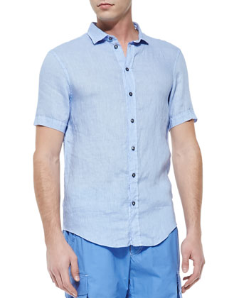 Short-Sleeve Linen Shirt, Light Blue