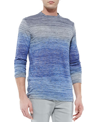 Broken-Stripe-Ombre T-Shirt, Blue/Gray