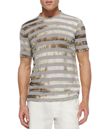 Striped Water-Print Tee, Medium Gray