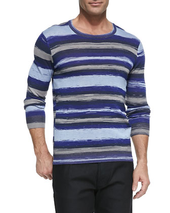 Horizontal-Stripe Pullover Sweater, Blue