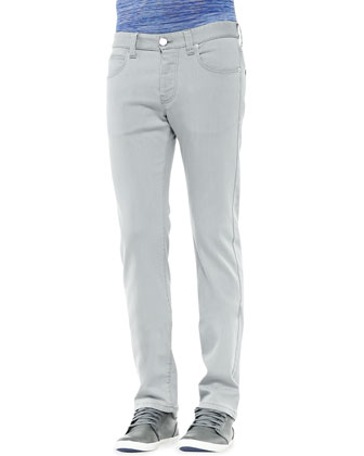 5-Pocket Slim-Fit Jeans, Light Gray