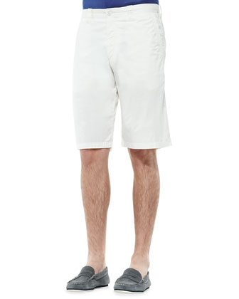 Twill Knee-Length Shorts, White