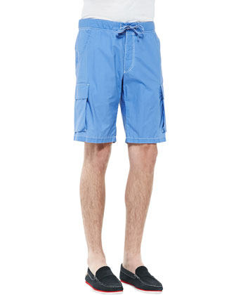 Lightweight Drawstring Cargo Shorts, Blue