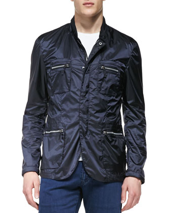 Four-Pocket Nylon Jacket, Navy
