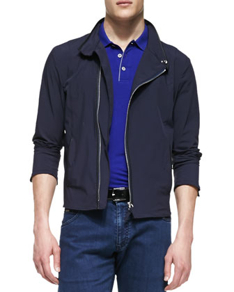 Asymmetric-Zip Tech Jacket, Navy