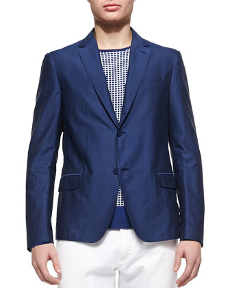 Dot-Jacquard Sport Coat