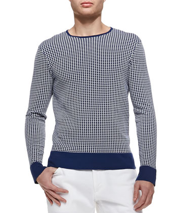 Grid-Check Crewneck Sweater, Blue/White