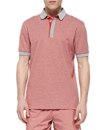 Striped Pique Polo, Orange/Gray