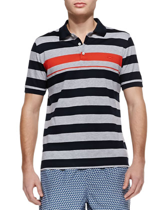 Wide-Stripe Contrast Polo, Navy/Gray/Orange