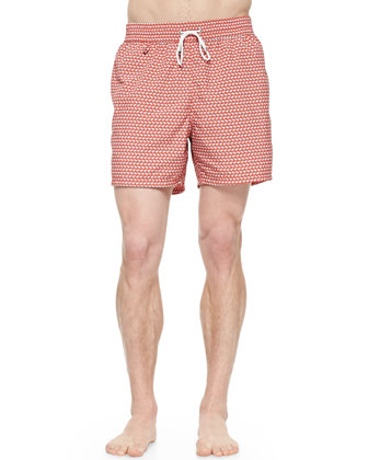 Whale-Print Swim Trunks, Orange