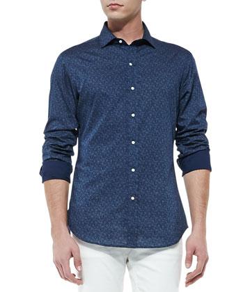 Small-Paisley-Print Sport Shirt, Navy