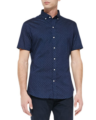 Dot-Print Short-Sleeve Sport Shirt, Navy