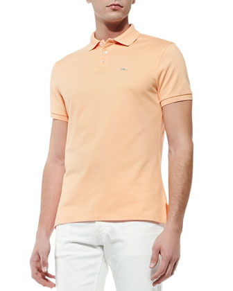 Short-Sleeve Polo Shirt with Blue RL Logo, Peach