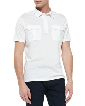 Military Knit Polo, White