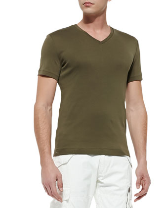 V-Neck Jersey Tee, Thicket Moss