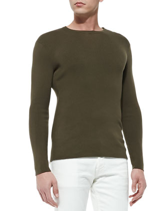 Long-Sleeve Crewneck Pullover, Olive