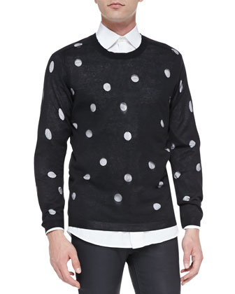 Polka-Dot Knit Sweater, Black/White