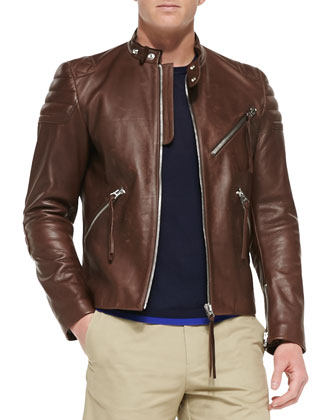 Oliver Main Leather Moto Jacket, Track Crewneck Sweater & Dot Cotton-Blend ...