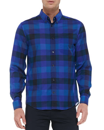Long-Sleeve Button-Down Check Shirt, Blue