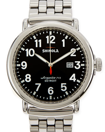 47mm Runwell Men's Watch, Stainless Steel/Black Dial