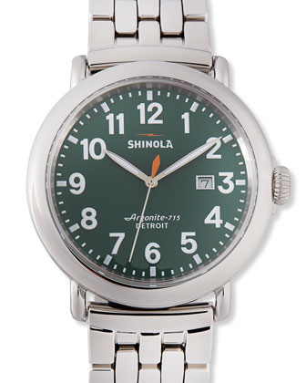 47mm Runwell Men's Watch with Date Window, Stainless Steel/Green Dial