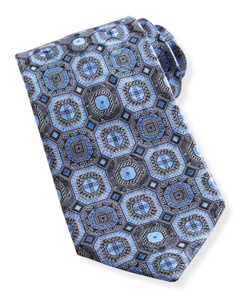 Octagon Medallion Silk Tie, Blue