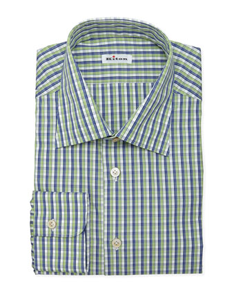 Multi-Check Dress Shirt, Green