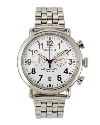 41mm Runwell Men's Chronograph Watch, Stainless Steel/White Dial