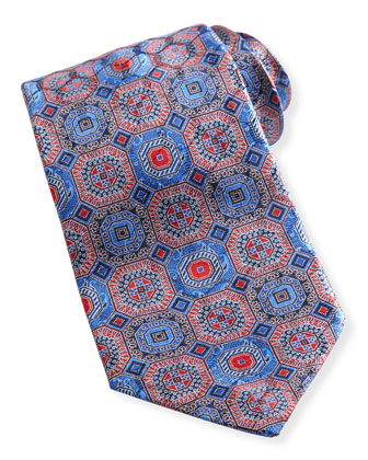 Octagon Medallion Silk Tie, Navy