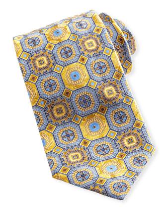 Octagon Medallion Silk Tie, Yellow