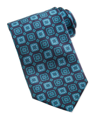 Grand Square Medallion Tie, Teal