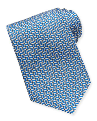 Chain-Links Silk Tie, Blue