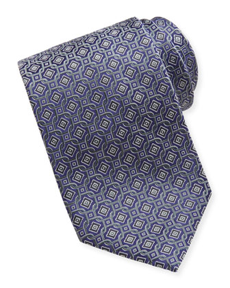 Diamond Circle-Links Silk Tie, Charcoal