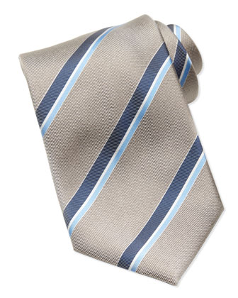 Oxford Striped Tie, Tan