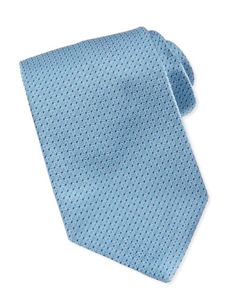 Tonal-Circle-Links Silk Tie, Aqua