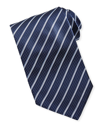 Striped Textured Silk Tie, Navy