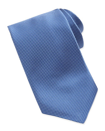 Tonal-Stitched Silk Tie, Blue