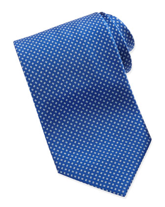 Micro-Check Pattern Silk Tie, Blue