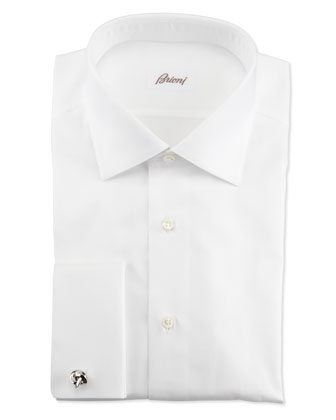 Ribbed French-Cuff Dress Shirt