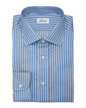 Track-Stripe Dress Shirt, French Blue