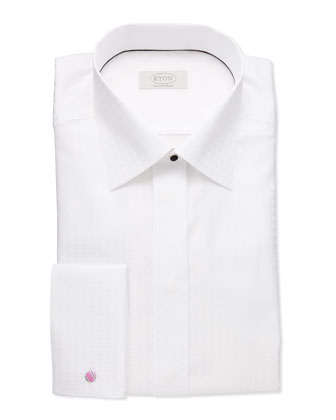 White-on-White Check Dress Shirt