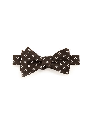 Woven-Square Bow Tie, Black/White