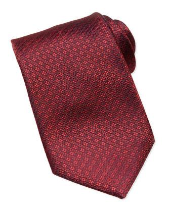Textured Circle Tie, Red