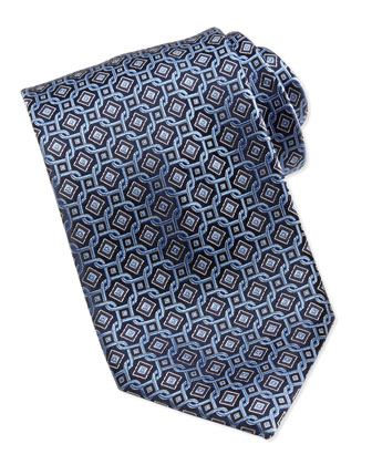 Diamond Circle Tie, Blue