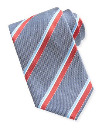 Woven Oxford Repp-Stripe Tie, Blue