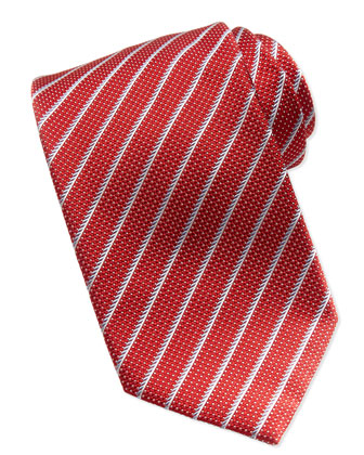 Dotted Textured Stripe Tie, Red