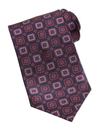 Grand Square Medallion Tie, Red