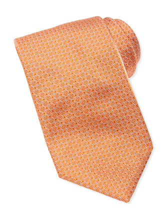 Tonal-Circle-Links Silk Tie, Orange