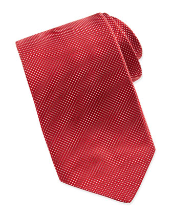 Tonal-Stitched Silk Tie, Red